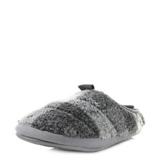 Womens Bedroom Athletics Gibson Grey White Fleece Lined Slippers Sz Size