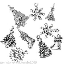 Wholesale W09  Mixed Silver Tone Christmas Motif Charms Pendants