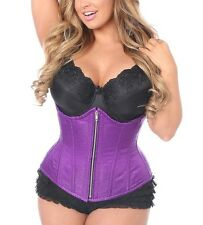 Brocade Fabric Steel Boned Bustier Corset Top Sexy Lingerie Plus Size S-6XL