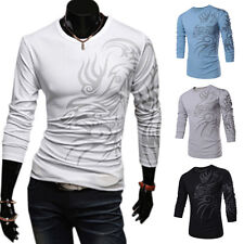 Fashion Mens Slim Fit Round Neck Long Sleeve Tattoo Print Casual T-Shirt Top EW
