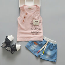 New Baby Girls Casual Clothing Set T-Shirt + Blue Shorts 2 Pcs/Set Outfit