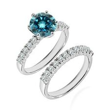 1 Ct Blue Diamond Fancy Wedding Anniversary Solitaire Ring Bnad 14K White Gold