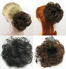 SLIGHTLY WET CURLY WAVY HAIR CHIGNON BUN UPDO DOME HAIRPIECE DRAWSTRING WIGLET