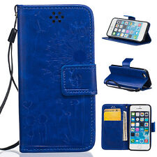 New Couple Dandelion Leather Filp Stand Card Wallet Case Cover For iphone 5S SE