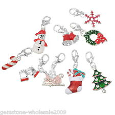 Wholesale Lots Mixed Christmas Clip On Charms. Fit Chain Bracelet