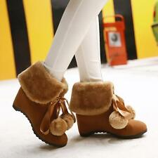 Womens ladies winter fur lined ankle boots hidden wedge heels high top shoes
