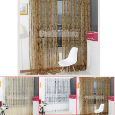 Chic Flocked Floral Voile Curtain Sheer Tulle Window Drapes Panel Valances 2*1M