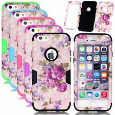 Armor Purple Flower Pattern PC Silicone Combo Matte Cases For iPhone 6 6S Plus