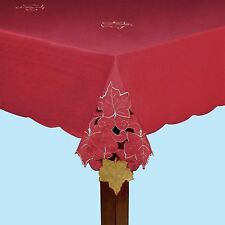 Asstd Sizes Autumn Fall Maple Leaf Deep Red Cutwork Fabric Tablecloth FREE SHIP
