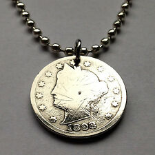 "USA 5 cent Lady Liberty Head ""V"" Nickel  coin pendant American necklace n001239"
