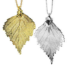 24K Gold or Sterling Silver Plated Dipped Birch Leaf Pendant Necklace