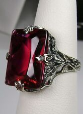 10ct *Red Ruby* Solid Sterling Silver 1930s Deco Leaf Filigree Ring Size Any/MTO