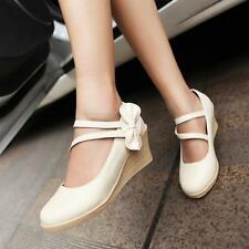 Womens Girls Bow Tie Round Toe Ankle Strap Wedge Mid Heel Pumps Casual Shoes