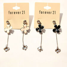 New Forever21 Enamel Clover Drop Dangle Earrings Long Gift 2Colors Available FS
