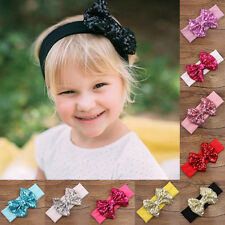 UK Baby Infant Girls Hair Band Sequined Bow Headband Turban Knot Hair Headwear