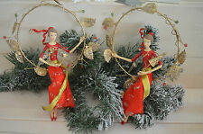 Gisela Graham Red Gold Dress Fairy with Christmas Tree/Wreath in Ring Decoration