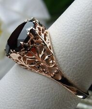 4.2ct Red Garnet Sterling Silver & Rose Gold Ivy Filigree Ring Size Any/MTO