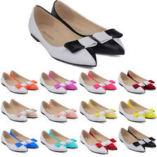 Womens Faux Pumps Patent Leather Flats Dolly Ballet Work Casual Shoes US 4 - 11
