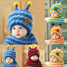 Toddler Girls Boys Winter Baby Warm Wool Hat Hooded Scarf Earflap Knitted Cap