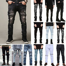 Casual Mens Straight Jeans Slim Fit Ripped Pants Denim Jean Skinny Trousers Hot