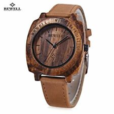 BEWELL Unisex Quartz Watch Japan Movt Wooden Dial Leather Strap Wristwatch