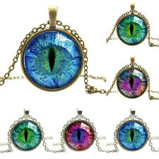Gothic Punk Modern Colored Dragon Cat Eye Glass Cabochon Plated Pendant Necklace