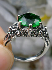 3ct *Emerald* Sterling Silver Victorian Crown Floral Filigree Ring Size: Choose
