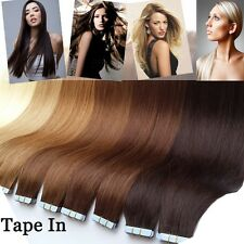 "EASY Tape In Skin Weft 100% REAL Remy Human Hair Extensions 18""-20"" US SALE I296"