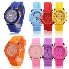 Girl Hot Jelly Candy Color Wrist Watch Quartz Silicon Watchband Round Dial  LS4G