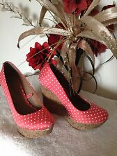 Retro 50s Rockabilly Red & White Spot Wedge Heels sz 5 38