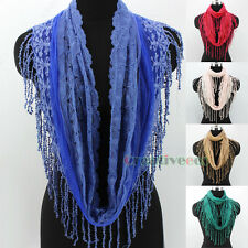 Fashion Delicate Embroidery Dot Lace Tulle With Tassel Infinity Stitching Scarf