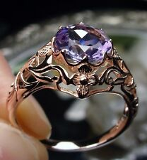 1.7ct Natural Amethyst Solid 14k Rose Gold Daisy Filigree Ring Size ANY/NEW
