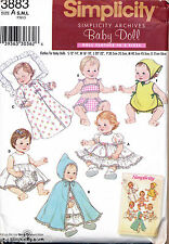 "SIMPLICITY SEWING PATTERN 3883 BABY DOLL CLOTHES 3 SZS 12""-14""; 16""-18""; 20""-22"""