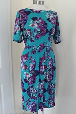 size 16 green dress with purple print from marks and spencer brand new