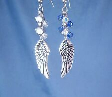Silver Curved Angel Wings Earrings +Swarovski Crystals Blue, White, Pink , Aqua