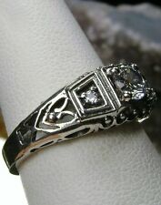 White Gem Art Deco 1930s Design Solid Sterling Silver Filigree Ring Size Any/MTO