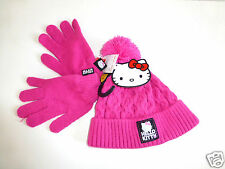 Girl's Pink Hello Kitty Hat & Gloves Set - Ages 4-8 yrs & 9-13yrs - NEW