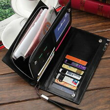 Men's Top Leather Bifold Long Wallet Card Holder Purse Checkbook Clutch Billfold