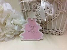 Persoanlised First Christmas Wooden Tree Tag - Pink with Glitter