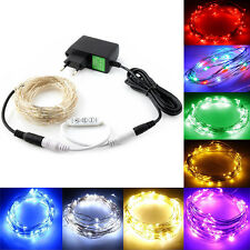 2/5/10m LED Silver Wire String Fairy Party Wedding Light Controller + Adapter EU