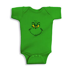 Grinch Face Baby Onesie Infant Lap Shoulder Bodysuit Christmas Holiday Onesie