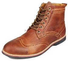 Mens Leather Brogue Dress Boot Chukka Lace Up Wing-tip casual dress Oxford Shoes