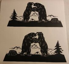 FIGHTING BEARS SCENE DECALS VINYL GRAPHICS, RV CAMPER TRAILER SEMI 5TH WHEEL