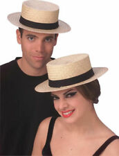 Straw Sailor Hat Skimmer Boater Amish Costume Accessory Hat Medium Large