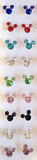 NEW 1 PAIR MICKEY MOUSE MINNIE MOUSE CRYSTAL EARRINGS FINE 925 STERLING SILVER