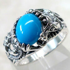 CLASSY MARCASITE DRAGON WITH 3 CT TURQUOISE 925 STERLING SILVER RING SIZE 5-10