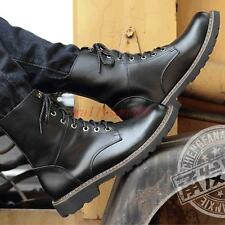 Mens high top casual dress punk rock cowboy lace up motor biker ankle boots new