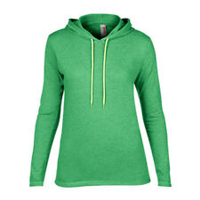 Women's Lightweight Long Sleeve Hooded T-Shirt Anvil Ladies Hoodie Heather Green