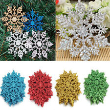 12Pcs New Glitter Snowflake Christmas Ornaments Xmas Tree Hanging Decorations