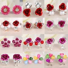 Flower Women Lady Girls Crystal Rhinestone Ear Stud Earrings Christmas Gift